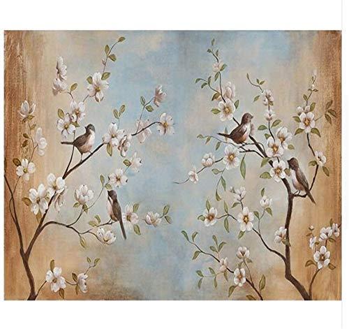 Pmrioe 3D Wohnzimmer Tapete Moderne Blume Vogel Pfirsich Malerei Bild Wandbilder Tapete, 300X210 Cm (118,1 Von 82,7 In)