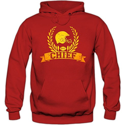 Shirt Happenz Chief #6 Hoodie | Herren | Super Bowl | Play Offs | Football Hoodies | USA | Kapuzenpullover, Farbe:Rot (Red F421);Größe:M Alex Smith Jersey
