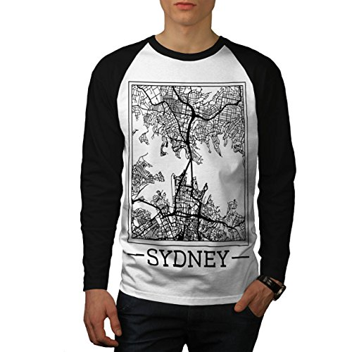 Australien Sydney Karte Groß Stadt Herren M Baseball lange Ärmel T-Shirt | (Kostüme Billig Sydney)