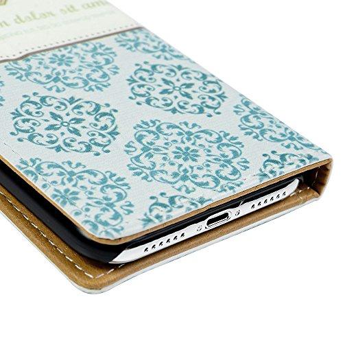Lanveni Handyhülle für iPhone X,iPhone 10,Flip Case Cover PU Lederhülle Schutzhülle Magnetverschluss Ledertasche mit Stander Function Brieftasche Card Slot Handy Tasche mit Gemalt Design (Eiffelturm + Blaues Muster