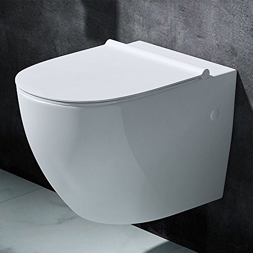 Durovin Bathrooms Ceramic Wall Hung Toilet – D Shape | Include WC Pan with Soft Close Seat – Quick Release | 355 x 560 x 400mm (WxDxH)
