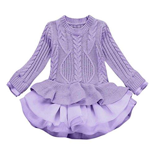 weatshirt Winter Pullovers WINWINTOM Kinder Häkeln Tutu Kleid Tops Kleider (Lila, 120cm) (Halloween-kleinkind Kostüme 2017)