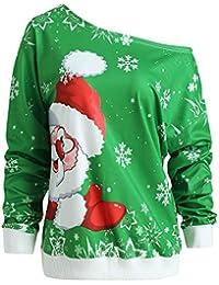 ❤️ Blusa navideña Mujer Invierno, Moda Mujer Feliz Navidad Papá Noel Imprimir Skew Collar Sudadera Blusa Absolute
