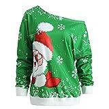 MERICAL Mode Frauen Frohe Weihnachten Weihnachtsmann Print Skew Kragen Sweatshirt Bluse