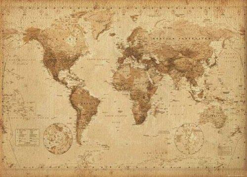 empireposter - Landkarten World Map - antique style - Größe (cm), ca. 50x40 - Mini-Poster, NEU - - Mini-poster