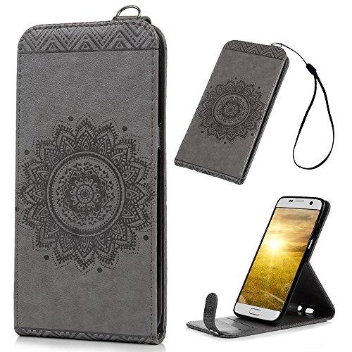 Preisvergleich Produktbild YOKIRIN S7 Edge Flip Case,Samsung Galaxy S7 Edge Premium Lederhülle Prägungg PU Ledertasche Wallet Tasche Handyhülle Schutzhülle Handyhalter im Bookstyle[Grau][Standfunktion Kredit Kartenfächer Magnetverschluss]