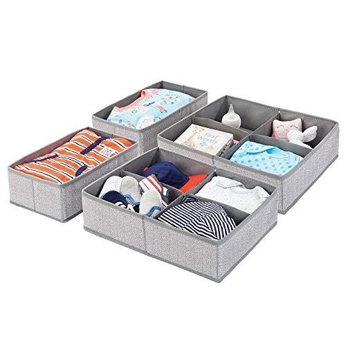 mDesign 4er-Set Aufbewahrungsboxen für Kinderzimmer, Bad usw. - Kinderzimmer Aufbewahrungsbox mit vier Fächern plus einem Fach - Kinderschrank Organizer aus Kunstfaser - grau mit Fischgrätenmuster