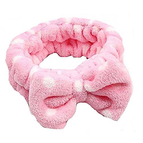 Stirnband Haarband,Worsendy Damen Mädchen Süßer Bogen Krawatte Flexible Stirnbänder Haarschmuck Headwrap für Yoga Wash Make-up Maske Coral Samt 1 Stück (Rosa) (Samt-rosa Kleine Kleid)