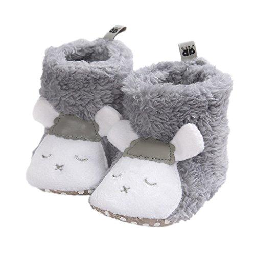 Auxma Baby schönen Herbst Winter warme weiche Sohle Schneeschuhe weiche Krippe Schuhkleinkind Stiefel (14cm(12-18 Monate), Grau 2) (Schuhe Herbst Baby)