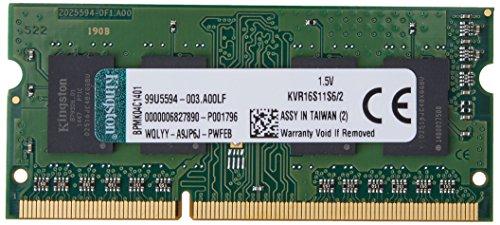 Kingston KVR16S11S6/2 Arbeitsspeicher 2GB (DDR3 Non-ECC CL11 SODIMM 204-pin, 1.5V)