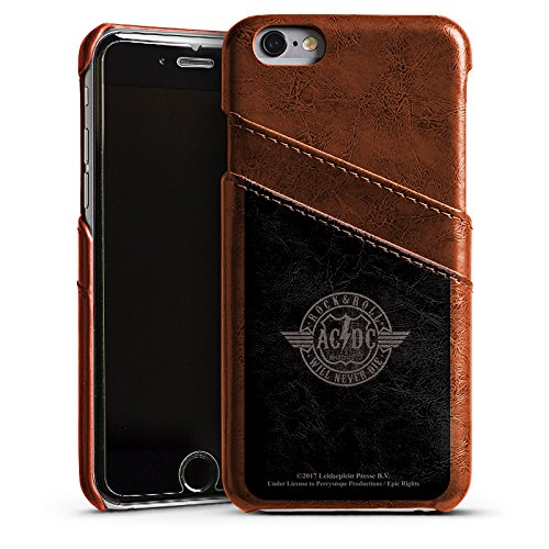 DeinDesign Apple iPhone 6 Lederhülle Maroon Leder Case Leder Handyhülle ACDC Rock Will Never Die Merchandise