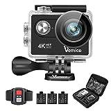 Vemico 4K Action Camera Ultra HD Impermeabile Casco Camera 16MP WIFI Sport 40M Videocamera Subacquea Schermo LCD 2.0 con Controllo Remoto 2.4G e 3 Batterie Ricaricabili (Nero) - Vemico - amazon.it