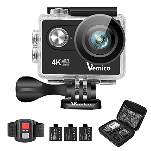 Vemico Camera Sport 4K Action Cam Caméra d'Action Ultra HD Casque Imperméable 16MP WIFI 40M Caméscope Sous-Marin avec 2.4G Télécommande et 3 Batteries Rechargeables