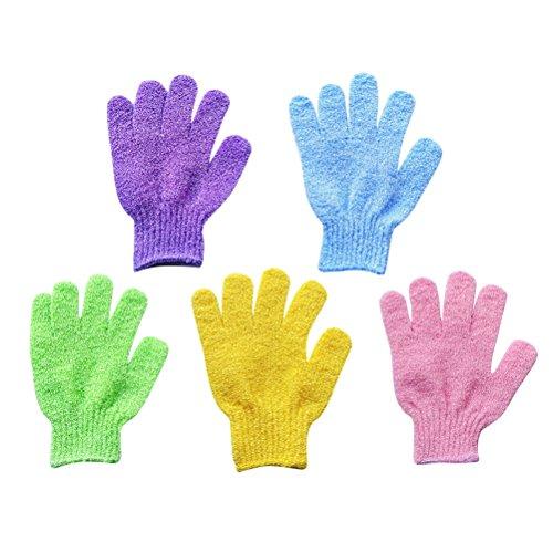 Frcolor 5 pares de guantes exfoliantes para baño