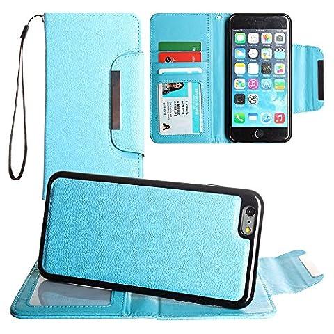 CellularOutfitter iPhone 6/6s Plus Compact Leather Wallet Case - Detachable Slim Case with Wristlet - Blue