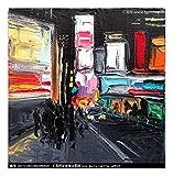ZXJYH Reine Handgemalte Abstrakte Fashion Street Landschaft Muster Öl Malerei Sofa Im Wohnzimmer An Der Wand Malen Rahmenlose Home Decoration Wandmalerei, 45 X 45 cm