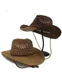 YongYeYaoBEN Moda Donna Estate Uomo Toquilla Paglia Cappello Cowboy Cowgirl Cappelli  per Gentleman Panama Jazz Cappelli 6ae1dd706c40