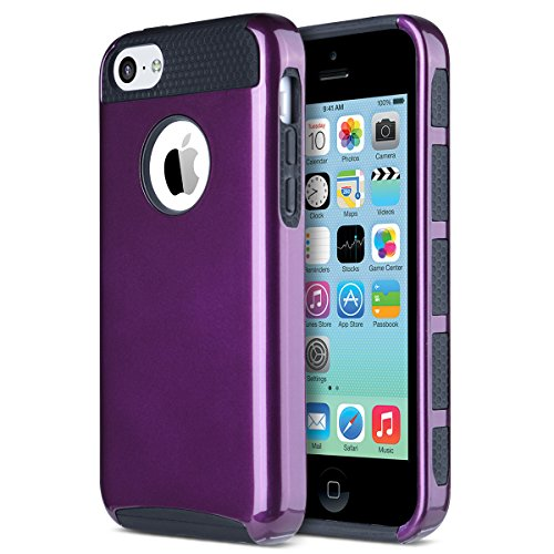 ULAK iPhone 5c Hülle, iPhone 5c Case Dual Layer Hybrid Schutzhülle Hart PC + TPU Weiche Stoßfest Tasche Case Cover für Apple iPhone 5c (Lila + Schwarz)