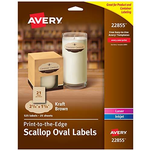 Avery 22855) Ovale Etiketten für Laser- und Tintenstrahldrucker, 525 Kraftbraun - Avery-etiketten-oval