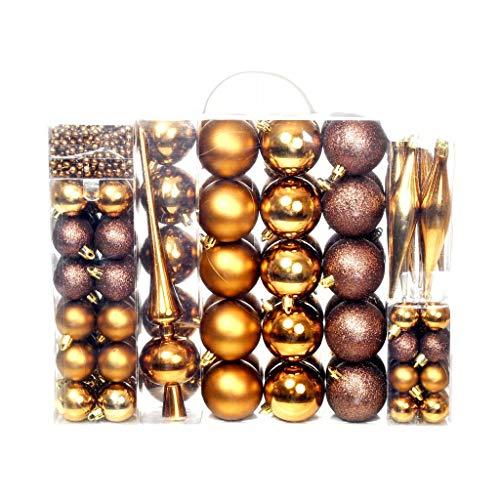 Festnight- set palline di natale 113 pz 6 cm marrone/bronzo/oro