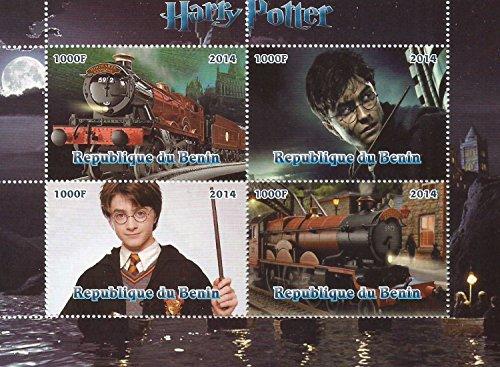 Harry-Potter- Film Sammlerstücke große MNH Briefmarkenbogen zu 4 Marken/Benin / 2014 - Teil Heiligtümer 2 Des Todes