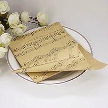 Lote de 50 conos para guardar pétalos o confeti en fiestas o bodas, temática musical, para hacerlos tú mismo: cartulina kraft con partituras musicales, con adhesivo de doble cara