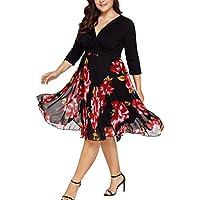 Vestidos mujer casual,Vestidos midi de mujer V cuello envuelto gasa floral de manga larga más el tamaño del vestido de fiesta LMMVP (XXXL, Negro)