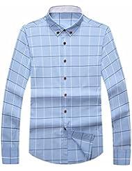 QIYUN.Z Hombres Informal Camisa De Vestir De Manga Larga A Cuadros Clásico Collar De La Solapa Del Botón Camisas