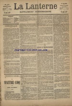 LANTERNE (LA) [No 109] du 01/08/1886 - UNE LECTURE AU THEATRE-FRANCAIS PAR AUDEBRAND - LE LIEVRE AUX OLIVES PAR DU BOISGOBEY - LA MALADIE DU LIEUTENANT PAR MONTEGUT - LE PERE THOMAS PAR METENIER - UN LACHE PAR SAUTON - LA SANTE PUBLIQUE PAR MARC - FEUILLETON / LE MAITRE COQ PAR ROCHERY