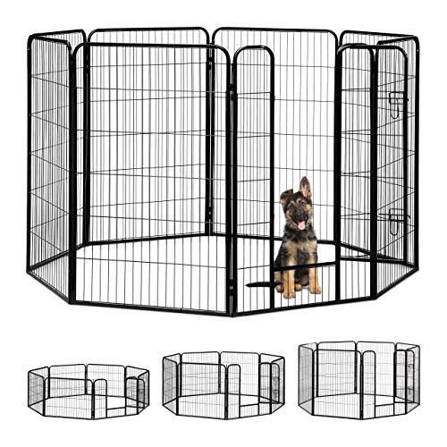 Relaxdays Welpenauslauf, kleine Hunde, Welpen, Kleintiere, Innen, Außen, Laufstall HxBxT: 120 x 76,5 x 235 cm, schwarz
