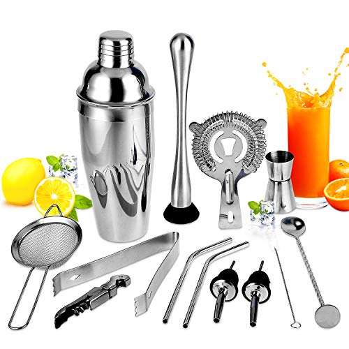 Hochwertiges Cocktailshaker Set,13-teiliges Bar Tool Set,großer Getränkemixer,Cocktail Shaker Set,Perfect Home Bartending Kit aus Edelstahl,Barkeeper Set(750ML)