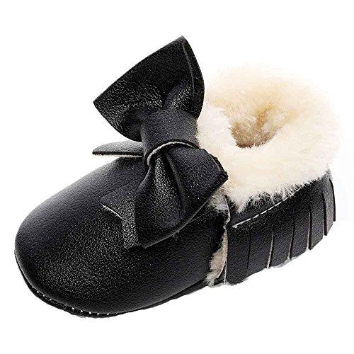 Hunpta Baby Schneestiefel Bowknot weiche Sohle weiche Krippe Baumwolle Schuhe Kleinkind Stiefel (Alter: 6 ~ 12 Monate, Rot) Schwarz