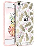 Coque iPod Touch 6, Etui iPod 6, Coque iPod 5, BENTOBEN Etui de Protection iPod Touch 6 Résistante Antichoc Durable 2 in 1 Double Couches en PC + Silicone Flexible avec Motif Ananas pour iPod Touch 5/iPod Touch 6 4 pouces, Rose/Or