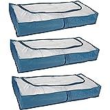 Lot de 2 housses de rangement sous lit fermeture clair for Housse de rangement sous lit