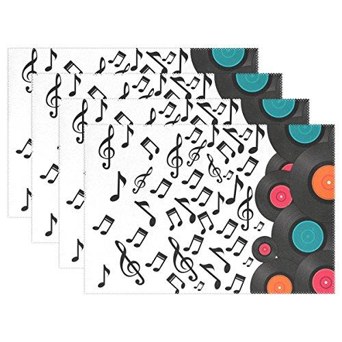 naanle Music Notes Design bunten Vinyl Record Tischsets Set der 1/4/6waschbar Tisch Matte für Küche Esstisch 30,5x 45,7cm Platzsets Traditionell weiß/schwarz