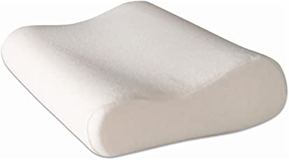 "PumPum 1 Piece Contour Cervical Orthopedic Memory Foam Bed Pillow - 21"" L x 13"" W x 4"" H, Off White Washable Zippered Cover"