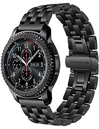 TRUMiRR 22 mm de acero inoxidable reloj de la banda de liberación rápida de la correa de todos los enlaces desmontable para Samsung Gear S3 Classic Frontier, Gear 2 R380 R381 R382, Moto 2 360 46mm, Guijarro Tiempo / Acero, Asus ZenWatch 1 2 Los hombres, LG G Reloj urbano W150