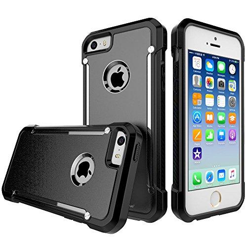 Coque Apple iPhone SE, TECHGEAR® iPhone SE 5s 5 [FUSION ARMOUR] Coque Protective Svelte Anti-Choc (Blanc/Givré) NOIR ENTIER (FUSION ARMOUR)