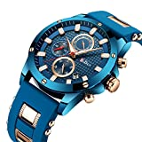 FIZILI Herren-Chronograph-Armbanduhr, modisch, Quarz, wasserdicht, Sport, Business Armbanduhr mit Silikonband