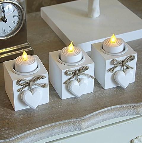 Set of Three Wooden Heart Tealight