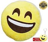 EasY Kid's ToY- Emoji Smiley Kissen Mister Plüsch knallig gelbe Farbe D~32cm Rund, Whatsapp emoticon für Kinder, Lustiger Kuschelkissen Spass garantiert, Ideales Geburtstag Geschenk zur Deko