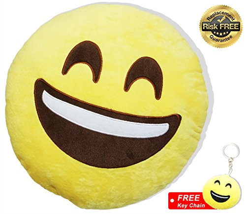 EasY Kid's ToY- Emoji Smiley Oreiller Monsieur peluche couleur jaune voyante D...
