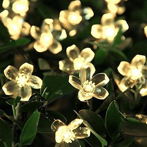 KOBWA Secuencia Solar Luces al Aire Libre Flor de Luz de Hadas 23 Pies 50 LED de la Flor de Iluminación la Navidad, la Fiesta, la Decoración del Jardín, del árbol de Navidad Luces (Blanco