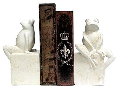 Bellaa 23040 Thinker Frog Serre-Livre Antique Finition Blanc