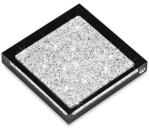 Untersetzer mit SWAROVSKI ELEMENTS Kristallen - elegante Tisch-Dekoration (1 Stück - schwarz) (Schwarze Und Weiße Tischdekoration Ideen)