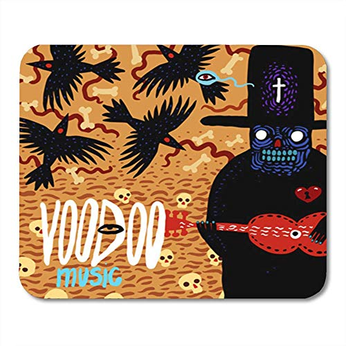 """AOCCK Gaming Mauspads, Voodoo Music with Comical Characters Skeleton in Hat and Guitar Birds with Skulls 11.8""""x 9.8"""" Decor Office Computer Accessories Nonslip Rubber Backing Mousepad Mouse Mat"""