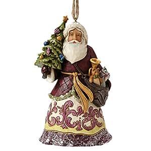 Enesco 4053699 Heartwood Objet de Décoration Suspension Père Noël avec Sapin Résine Multicolore 1 x 1 x 1 cm