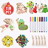 Joyjoz Ornamenti in legno di Natale 50 pezzi + 8 pennarelli + 60 campane di tintinnio, decorazioni per alberi di Natale fai-da-te per la casa Decorazioni per natale appese Ornamenti per bambini