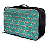 Portable Luggage Duffel Bag Shrimp Pattern Travel Bags Carry-on In Trolley Handle