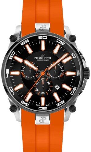 Pierre Petit Le Mans P-817C - Reloj cronógrafo de cuarzo para hombre, correa de silicona color naranja (cronómetro)